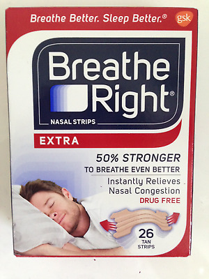 Breathe Right Extra 26 Tan Nasal Strips Stop Snoring Sleep Fast Free Post In Uk