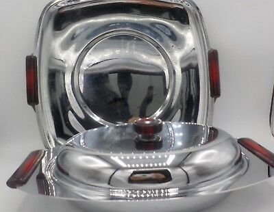 Mid Century Modern Glo-Hill Gourmates Chrome & Red Bakelite Serving Pieces