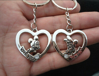 lover lovers keychain gifts couple key ring keyring Mickey Minnie Mouse & heart