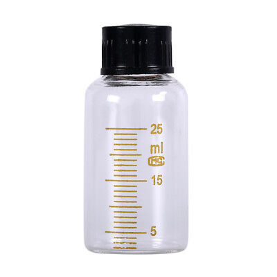 1pcs 25ml Scale lab glass vials bottles clear containers with black screw cap@M