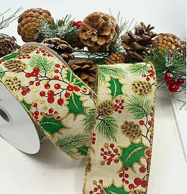 Wired Christmas Ribbon - Holly Berries Gold Glitter Wreath Bow Garland Tree Xmas
