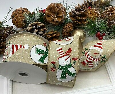 Wired Snowman Ribbon - Christmas Garland Cake Wreath Bow Tree Glitter Snow Xmas