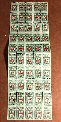 Vintage S & H Green Stamps, 1  Sheet, 50 Stamps, 1 Mill