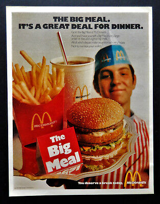 Vtg 1971 McDonald's Big Mac meal retro restaurant advertisement print ad art