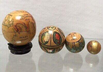 Vintage World Map Globe Ornament Hand Carved and Painted Wooden Stand Stacking