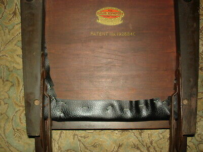 2 Solid Kumfort Antique wooden Folding Chairs USA patent Louis Rastetter & Sons