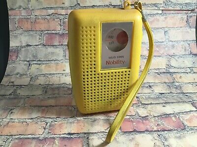 "Vintage YELLOW ""Nobility"" AM Solid State Pocket transistor dial Radio Working"