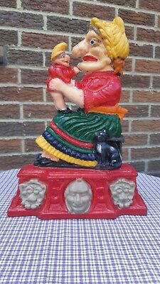 Vintage Cast Iron Punch Judy  Inspired sign Door Stop Or Door Porter 3.780 kg