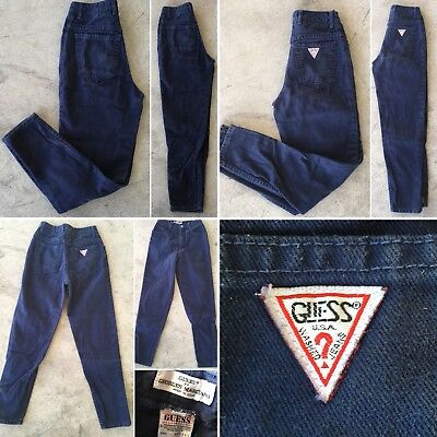 "Vintage Guess Jeans Made In USA Ankle Zippers High Waist Sz 8 80s 21 1/2"" Waist"