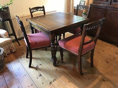 Antique Extending Dining Table with 4 Chairs Can Seat 8