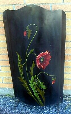 Superb Antique TOLE FIRE SCREEN Hearth POPPIES Handpainted Art Nouveau ART