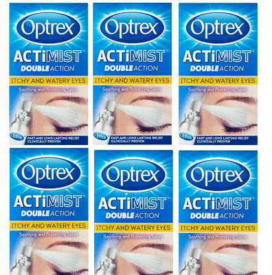6 X 10ML Optrex Actimist Double Action Itchy and Watery Eyes -2 in 1  spray