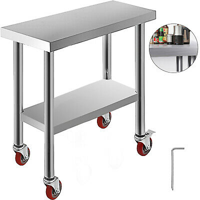 762*305 mm Commercial Stainless Kitchen Work Bench Food Prep Table Top + Wheels
