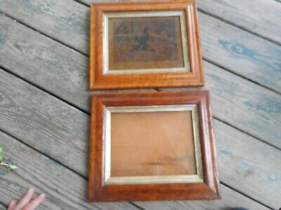 """pair of gorgeous antique frames ; one with tattered """"Death"""" print, roosters"""