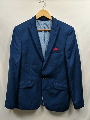Mens Limehaus Blue Smart Office Suit Jacket Blazer Size 38R #2N1