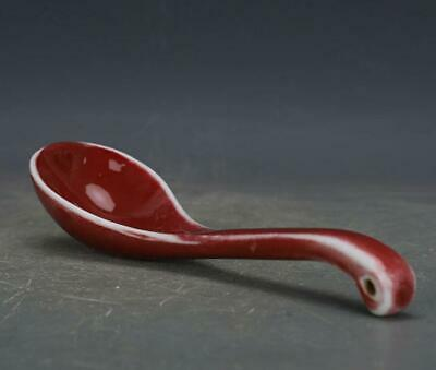 chinese old handmade kiln change Red glaze porcelain spoon 06954