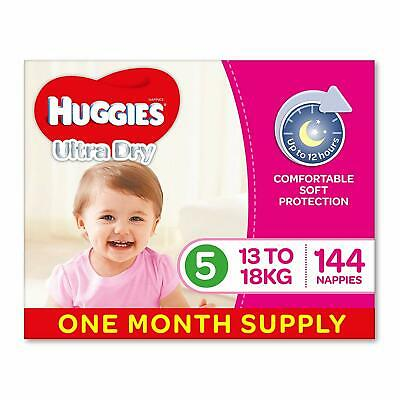Huggies Ultra Dry Nappies, Girls Size 5 Walker (13-18kg) 144 Count, One-Month Su