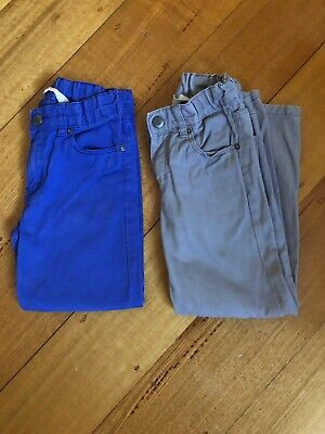 H&M Boys Straight Leg Pants Size 5-6 Blue & Grey