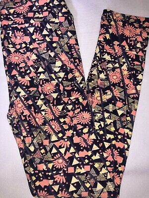 (BoxT) LuLaRoe Kids Leggings L/XL New Purple W/ Pink Yellow Floral & Triangles