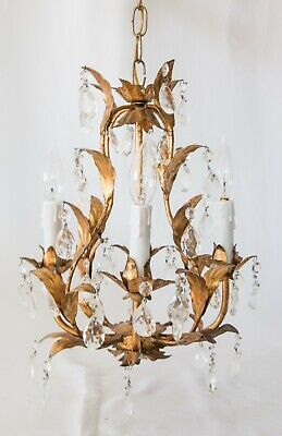 Vintage Mid-Century Italian Gilt Gilded Tole & Crystals Chandelier
