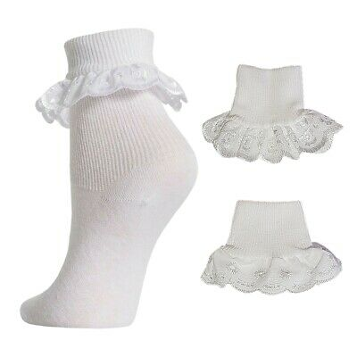 3 or 6 Pairs Girls Cotton School Lace FRILLY Socks Ankle Socks White 6-3.5