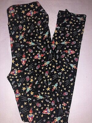 (BoxV) LuLaRoe Kids Leggings L/XL New Black W/ Space Shuttle & Outer Space