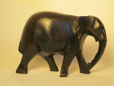 solid hard wood elephant statue figure sculpture carving art mahogany? statuette