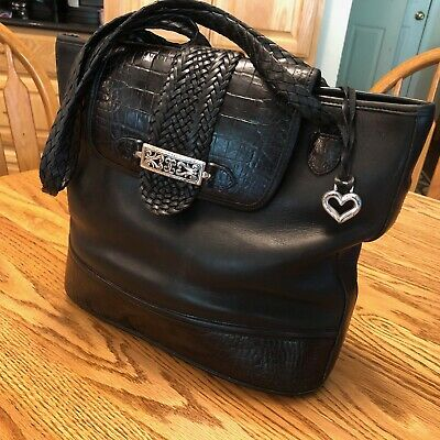 Women's Brighton Black Leather Should Bag / Purse - Croc Embossed $345 msrp