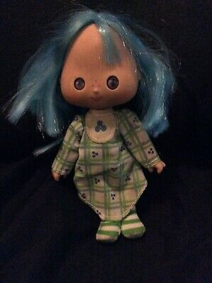 vintage rare strawberry shortcake doll collectable blue hair striped stockings
