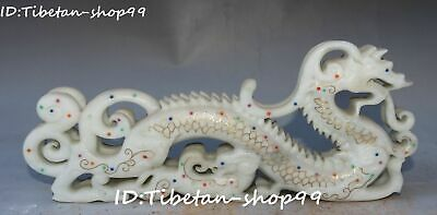 Top Natural Hetian Old Jade Gems Guardian Dragon Feng Shui Loong Beast Statue