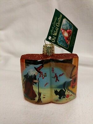 Merck Old World Christmas Inside Art Painted Witch Black Cat on Book Ornament