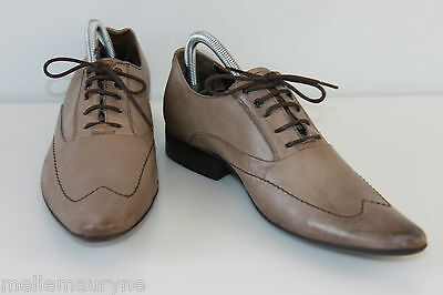 Derby Shoes Sharp/Pointed Carnet de Vol Brown Leather Taupe T 40, Vgc ,