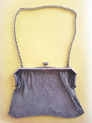 Antique Sterling Silver Lady's Fine Mesh Purse - 1920's Hallmarked