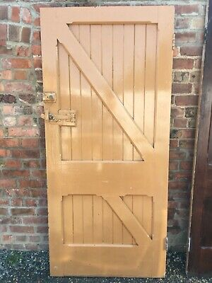 Antique Vintage Gothic Church Chapel Door painted pitch pine heavy Arts & Crafts