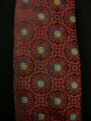 Vintage 1950'S-1960'S Poly Maroon Tie With Designs