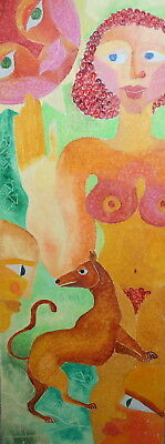 Abstract Expressionist Nude Animals Oil Painting Signed
