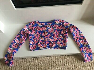 Girls rash long sleeve crop top blue and pink flowers river island brand new