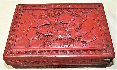 Vintage Chinese Carved Cinnabar Lacquer Box Republic Era Scholars Design 8337