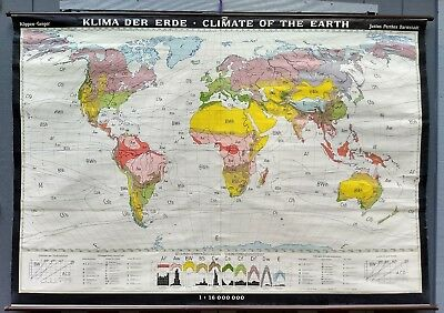 vintage roll down map wall chart world climate zones beautiful colors Koppen