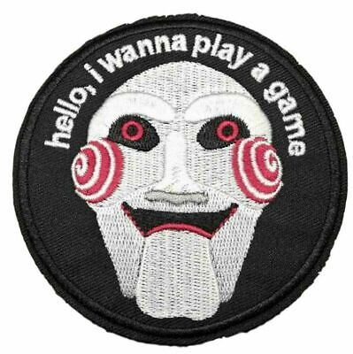 """Horror Saw Movie Jigsaw 3"""" Embroidered Iron / Sew on Patch wanna play a game"""