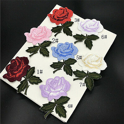 New Embroidered Flower Applique Iron On Sew On Patch Clothing Peony DIY RI@M
