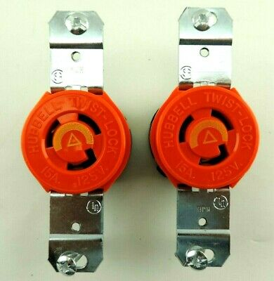 Lot of 2 HUBBELL IG4710 SINGLE LOCKING RECEPTACLE 15A/125V Orange/Yellow L5-15R