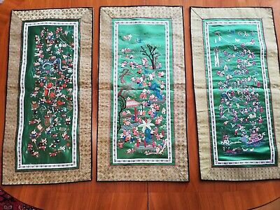 3 alte Chinesische Seide Bilder, 3 pieces old Chinese Silk Embroidery, 100 boys