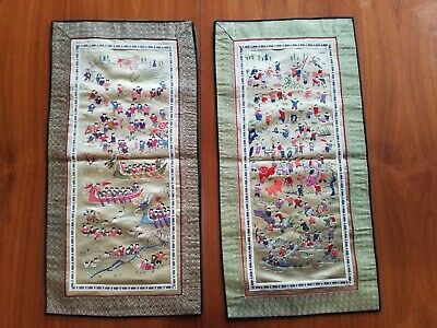 2 alte Chinesische Seide Bilder, 2 pieces old Chinese Silk Embroidery, 100 boys