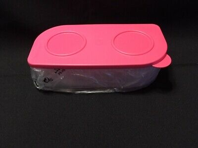 NEW Tupperware Fresh N Cool Large Rectangular Container-CLEAR WITH PINK LID