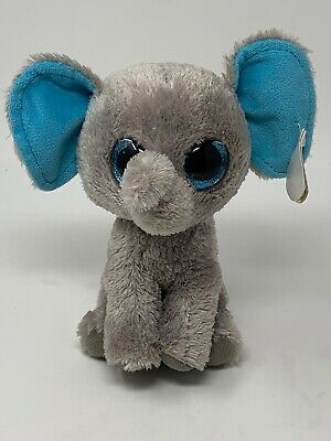 "Ty Beanie Boos 6/"" Multi-colored Elephant Sample *Read* Prototype Blue Eyes"