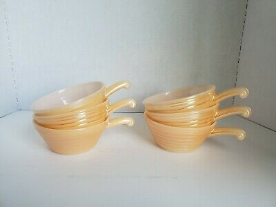 Vintage Fire King Oven Ware Handled Soup Chili Bowl Bee Hive Peach Luster set 6