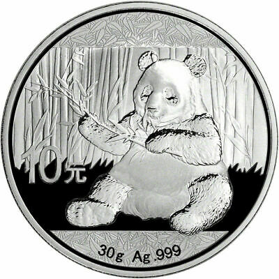 2017 China Silver Panda (30g) 10 Yuan BU Coin in Capsule from 15 Coin Mint Case
