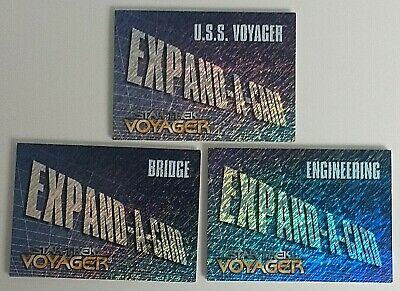 Star Trek Voyager Set of 3 Expand-a-Card Blueprint Redeemed Mail In cards - Rare