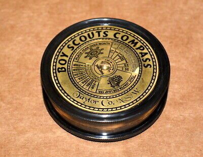 """Vintage Nautical Solid Brass compass 2.5"""" boy scouts calendar poem compass gift"""